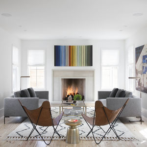 Bright modern living room with butterfly chairs