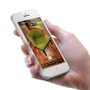 Furnish app with green armchair
