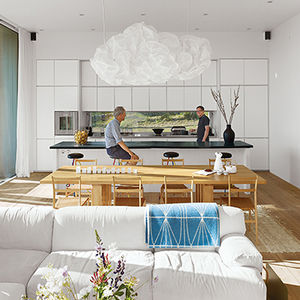 Vacation home in Sweden with Frank Gehry chandelier