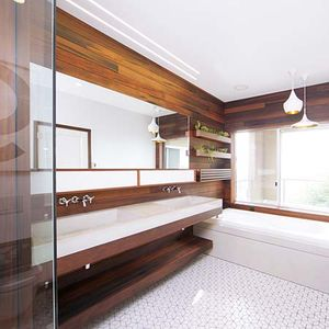 Modern wood-lined bathroom renovation