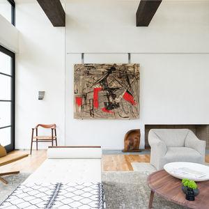 living room neutral palette artwork