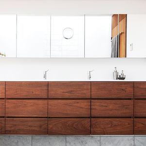 light and shadow bathroom walnut storage units corian counter vola faucet  0