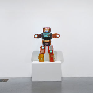 nam june paik bakelite robot video installation