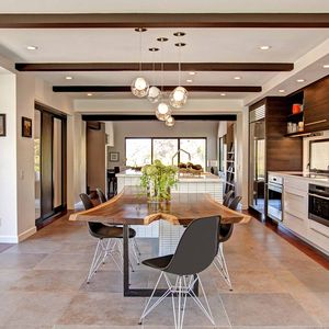 Encinitas kitchen remodel features custom dining table.
