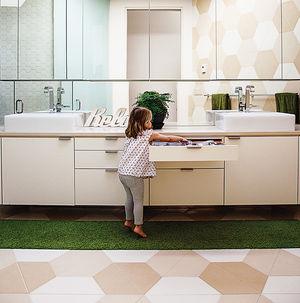 a new angle modular triangular prefab portrait bathroom hexagonal tiles