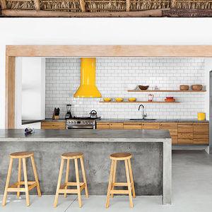 kitchen subway tile concrete island