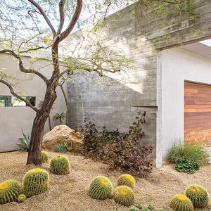 Courtyard and Garage at Indian Summer home in Southern California