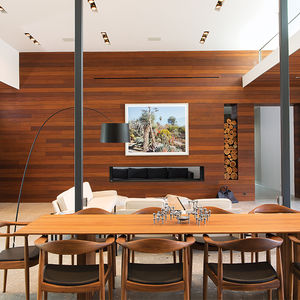 Dining Area, Living Room with Fireplace in Indian Summer home in Southern California