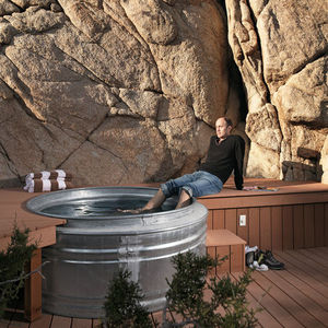 blue sky prototype house exterior backyard hottub
