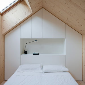 compact karset house wood gabled bed loft