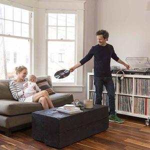 airbnb san francisco living room record collection