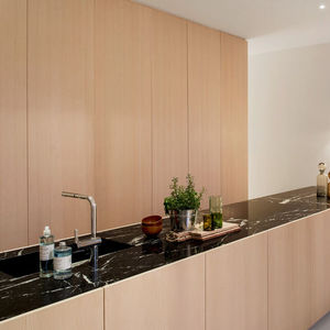 berlin apartment minimal kitchen marble countertop