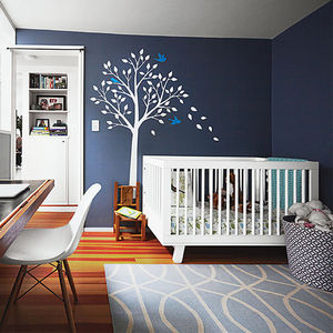 boston pops renovation small space office kids room babyletto crib smileywalls decal benjamin moore paint