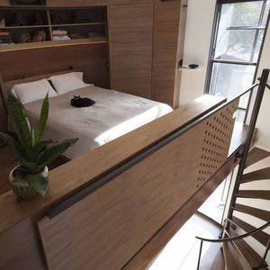 grain silo lofted bedroom