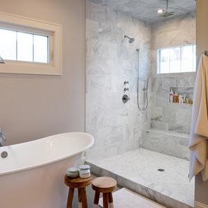 Spa-like bathroom with huge walk-in shower