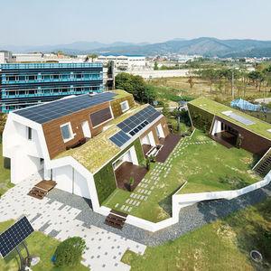 e green home exterior aerial view