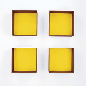 Donald Judd's yellow Cor-Ten sculptures at David Zwirner Gallery.