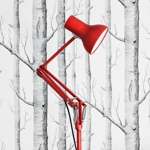 Red floor lamp with spring technology