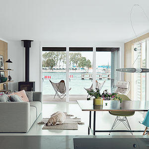 Modern Scandinavian living room with a wood-burning stove