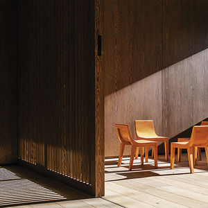 Playroom and sliding oak doors in a Mexico City home