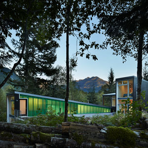 Cedar facade of modern Seattle cabin by David Coleman.