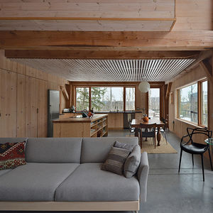 eagle pond house new hampshire white pine slats living space