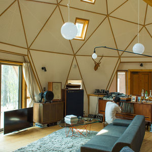 Domed home interior with an audio setup