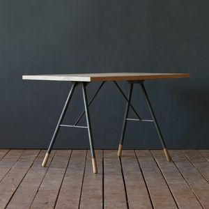 Trestle leg desk with white-washed wood top
