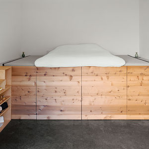 Modern San Francsico renovation with cedar sleeping platform in the bedroom