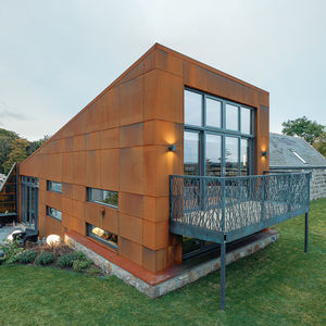modern renovation addition solar powered scotland facade steel balcony