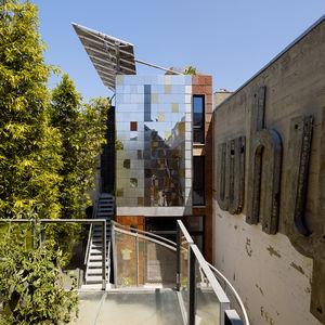 Exterior of a San Francisco net-zero cottage above a workshop