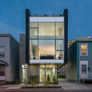 Modern live/work building in Halifax with a glass, concrete, and metal facade