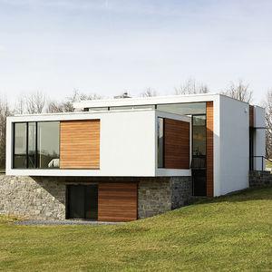 sweet virginia vacation smart home facade granite stucco mahogany siding