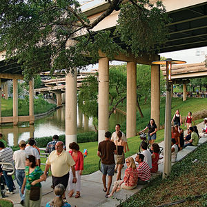 Urban Waterways Houston Buffalo Bayou trails native plants gathering.