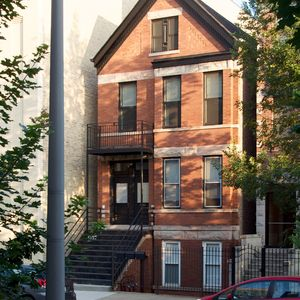 Preserved 1880s facade of renovated Chicago apartment building.