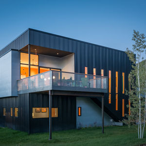 Sheet metal exterior facade of a box home in Wyoming