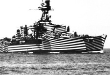 """A WWII vessel dressed in """"Dazzle Camouflage."""""""