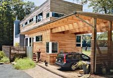 Modern prefab lakeside home in New Jersey