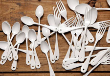 White enamel flatware.