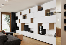 renovated small space apartment with white built-in shelving