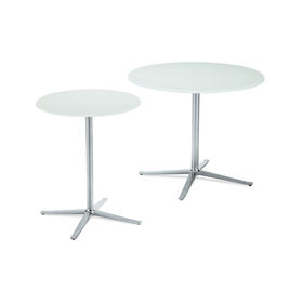 """The Bob Table, manufactured by PearsonLloyd for Walter Knoll, features thick glass mounted on a four-star, matte-polished and die-cast aluminum base. <a href=""""http://coalesse.com/Products/Bob-Table.aspx"""">Available from Coalesse.</a>"""
