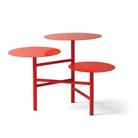 cherry red layered side table, ideal for display