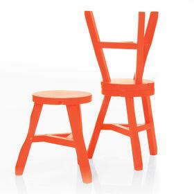 Orange offcut stool byTom Dixon.