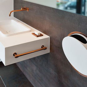 Copper kitchen and bathroom fixtures include 112 faucet and mixer serious and round series in-wall accessories for Vola