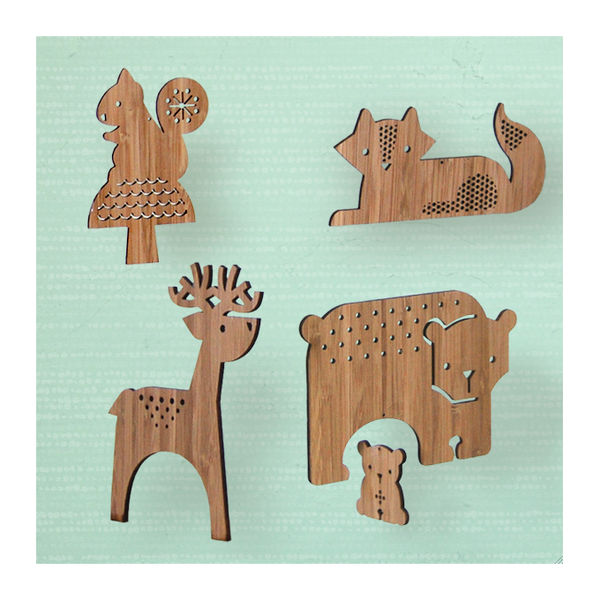 petit collage forest friends bamboo mobile