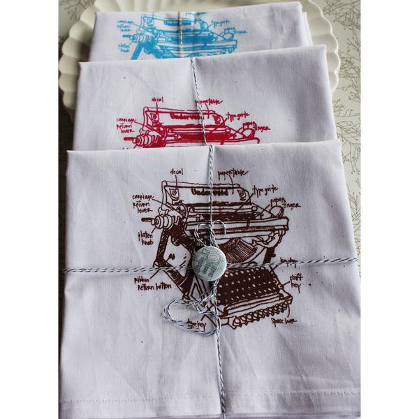 vintage typewriter flour sack towels