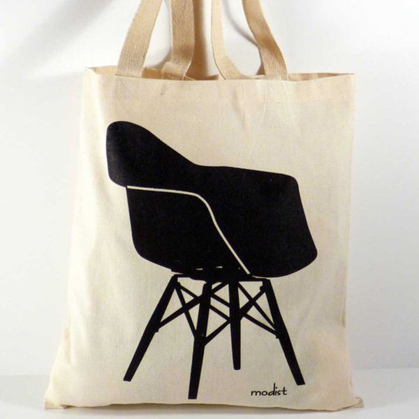 etsy modern eames shell chair canvas  handbag