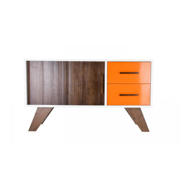 modern walnut console with orange lacquer