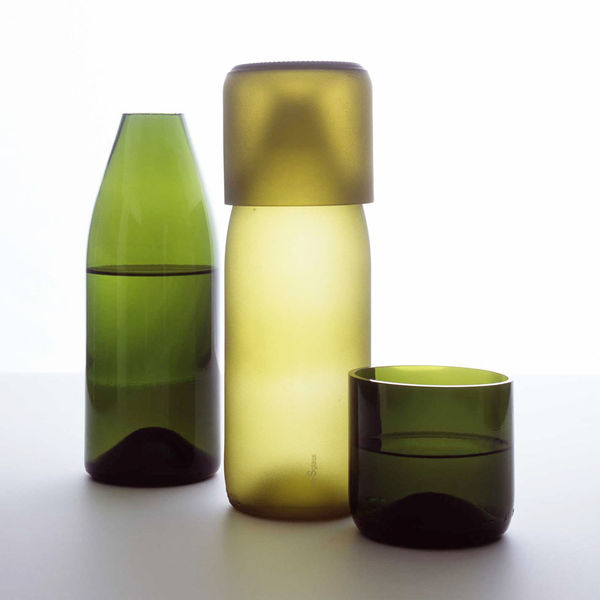 Recycled Glass Carafe with Tumbler Lid