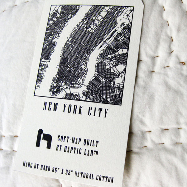 Hand-Stitched New York City Grid Quilt by Haptic Lab